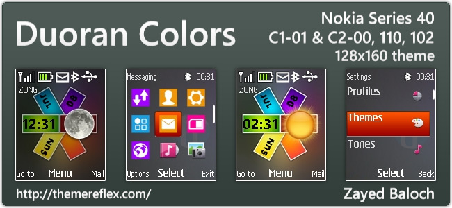 Duoran Colors Live theme for Nokia 110, 112, C1-01, 2690 & 128×160