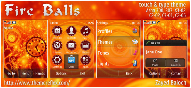 Fire Balls theme for Nokia Asha 303/300, X3-02, C2-06, touch & type
