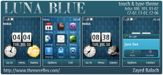 Luna Blue theme for Nokia Asha 303/300, X3-02, C2-02, touch & type