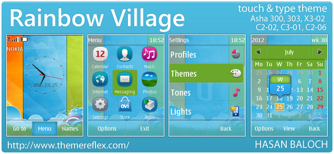 Rainbow Village theme for Nokia Asha 303, X3-02, C2-02 and Touch & Type