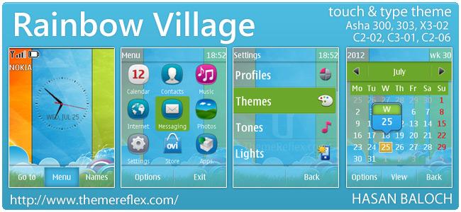 Rainbow Village theme for Nokia Asha 303, X3-02, C2-02 and Touch & Type