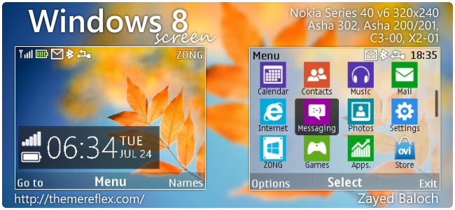 Windows 8 Screen theme for Nokia Asha 302, C3-00, X2-01 & 320×240