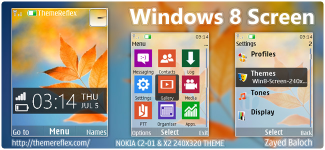Windows 8 Screen theme for Nokia X2-00, C2-01, X3 & 240