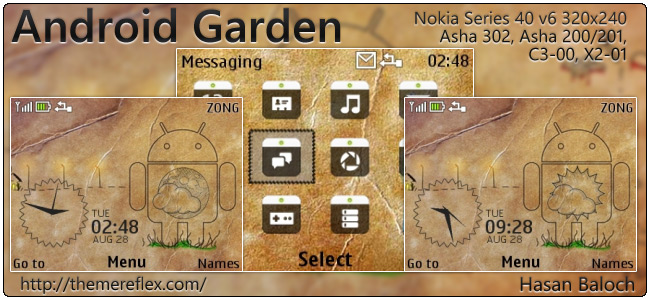 Android Garden Live theme for Nokia C3, X2-01 & Asha 200,201,302