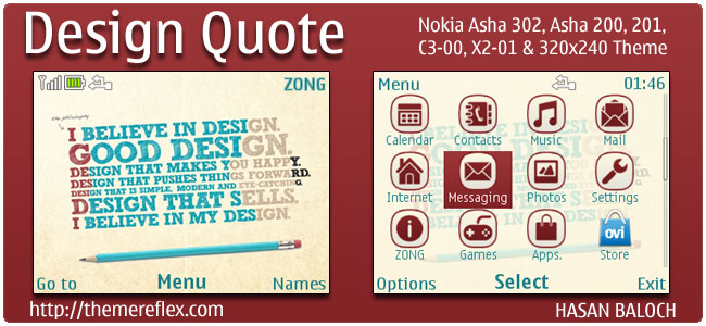 Design Quote Theme for Nokia C3, X2-01 & Asha 200,201,302
