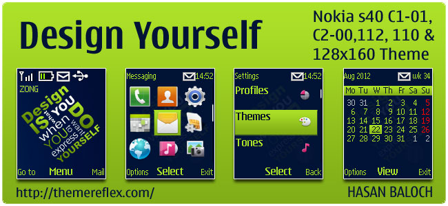 Design Yourself theme for Nokia C1-01, C2-00, 110, 112 & 128×160