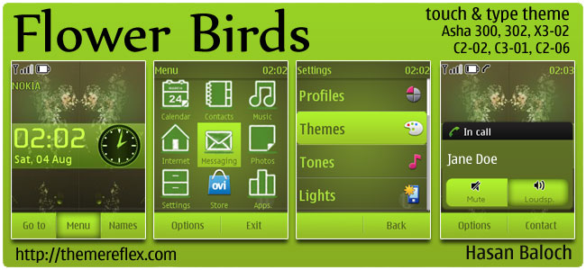 Flower Birds Theme for Nokia Asha 300/303, X3-02, C2-06, touch & type