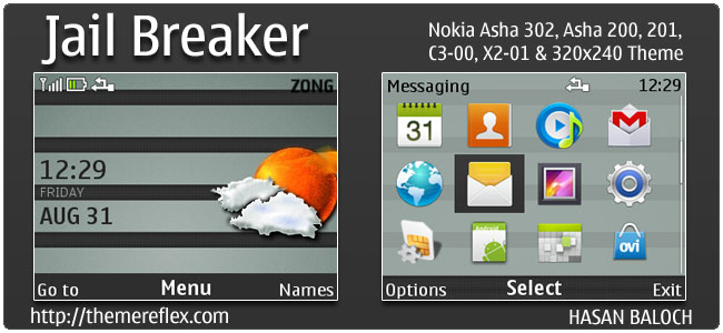 Jail Breaker Live theme for Nokia C3, X2-01 & Asha 200,201,302 (Updated)