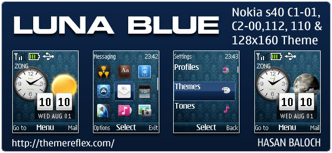 Luna Blue Live Theme for Nokia C1-01, C2-00, 110, 112 & 128×160