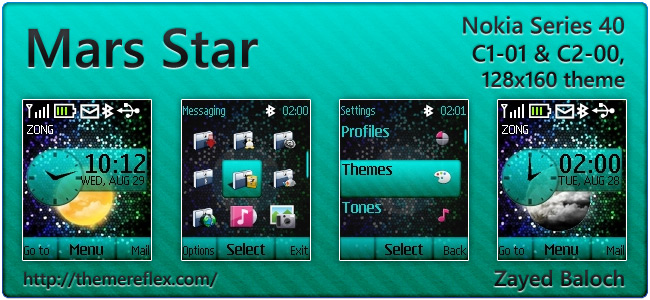 Mars Star live theme for Nokia C1-01, C2-00, 2690 & 128×160