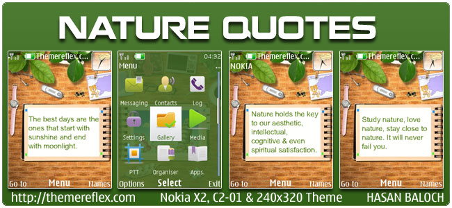 Nature Quotes Animated Theme for Nokia X2, C2-01 & 240×320