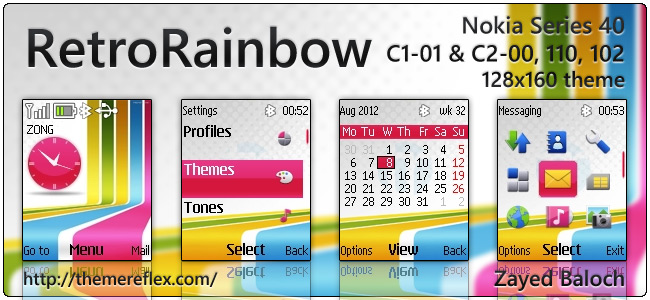Retro Rainbow theme for Nokia 110, 112, C1-01, 2690 & 128×160