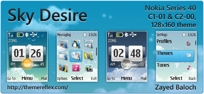 Sky Desire theme for Nokia C1-01, C2-00 & 128×160