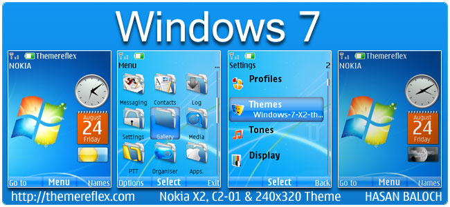 Windows 7 Live Theme for Nokia X2, C2-01 & 240×320