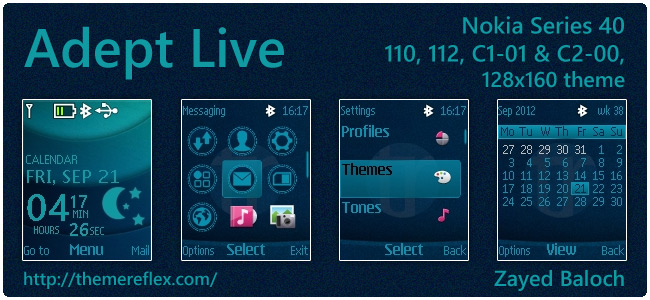 Adept Live theme for Nokia C1-01, C2-00, 110, 112 & 128×160
