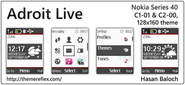Adroit Live theme for Nokia C1-01, C2-00, 2690 & 128×160