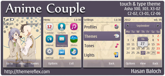 Anime Couple Theme for Nokia Asha 303/300, X3-02, C2-02 & touch and type