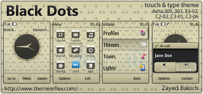 Black Dots theme for Nokia Asha 303/300, X3-02, C2-02, touch & types