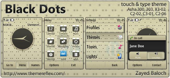 Black Dots theme for Nokia Asha 303/300, X3-02, C2-02, touch & types