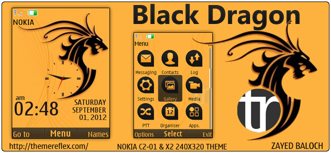 Black Dragon theme for Nokia X2-00, C2-01, X3 & 240×320