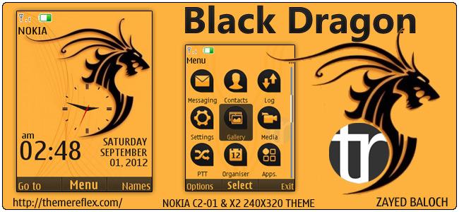 Black Dragon theme for Nokia X2-00, C2-01, X3 & 240×320
