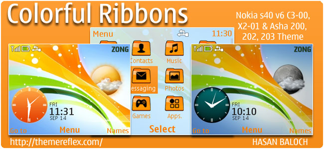 Colorful Ribbons Live theme for Nokia C3, X2-01 & Asha