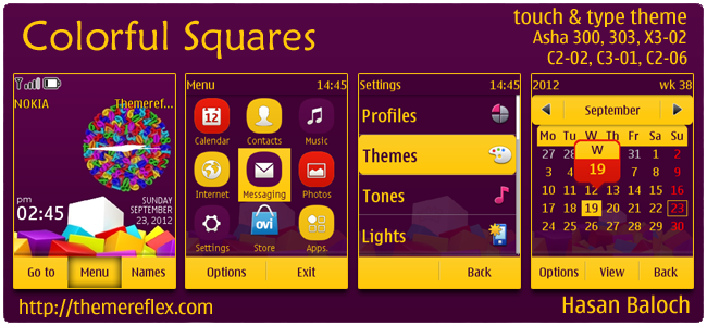 Colorful Squares theme for Nokia Asha 303/300, X3-02, C2-02 & touch and type