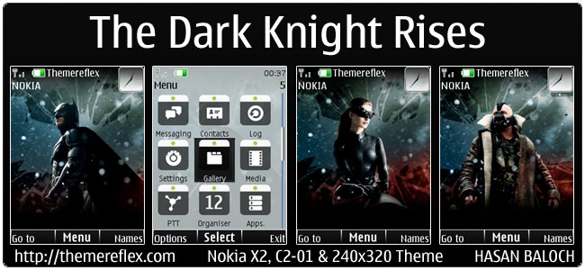 The Dark Knight Rises Animated Theme for Nokia X2, C2-01 & 240×320