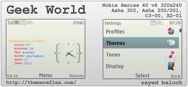 Geek World theme for Nokia Asha 302, C3-00, X2-01 & 320×240