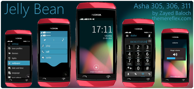 Jelly Bean theme for Nokia Asha 305, 306, 3011 and full touch
