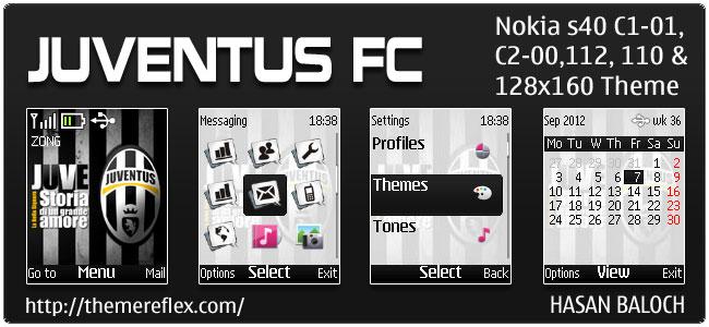 Juventus FC Theme for Nokia C1-01, C2-00, 110, 112 & 128×160