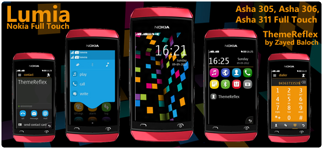 Lumia theme for Nokia Asha 305, Asha 306 & Asha 311