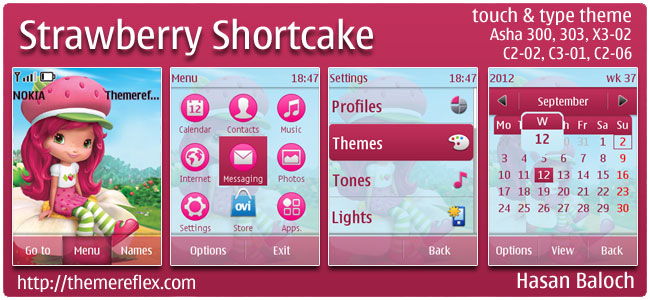 Strawberry Shortcake Theme for Nokia Asha 303/300, X3-02, C2-02 & touch and type