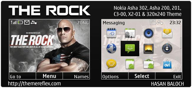 The Rock Animated theme for Nokia C3, X2-01 & Asha 200,201,302