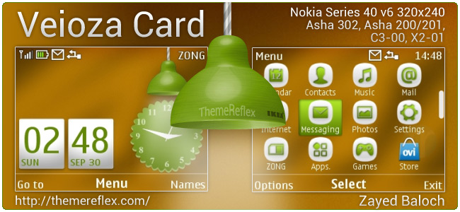Veioza Card theme for Nokia Asha 302, C3-00, X2-01, Asha 200/201
