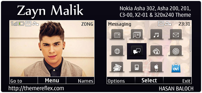 Zayn Malik Animated theme for Nokia C3, X2-01 & Asha 200,201,302
