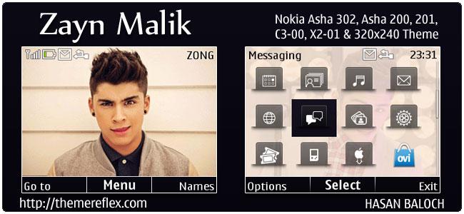 Zayn Malik Animated theme for Nokia C3, X2-01 & Asha 200,201,302