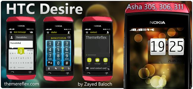 HTC Desire theme for Nokia Asha 305, 306 and 311