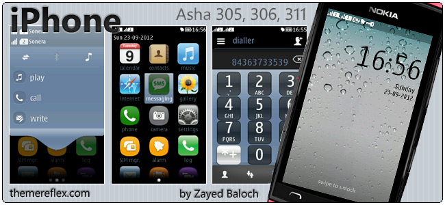 iPhone theme for Nokia Asha 305, 306, 311 & full touch