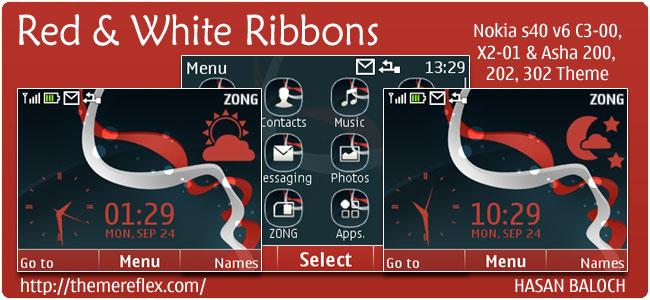 Red & White Ribbons Live theme for Nokia C2, X2-01 & Asha 200,201,302