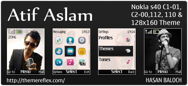 Atif Aslam Animated Theme for Nokia C1-01, C2-00, 110, 112 & 128×160