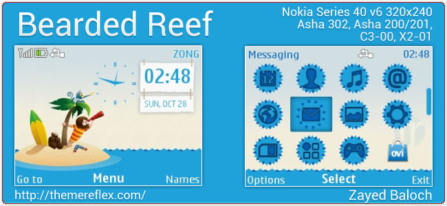 Bearded Reef theme for Nokia Asha 302, C3-00, X2-01 & 320×240