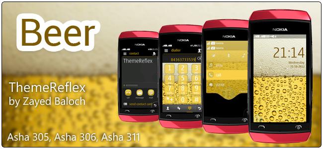 Beer theme for Nokia Asha 305, Asha 306, Asha 308 & Asha 311