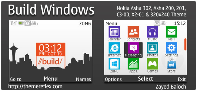 Build Windows Theme for Nokia C3, X2-01 & Asha 200,201,302