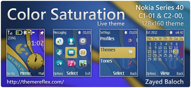 Color Saturation live theme for Nokia C1-01, C2-00, 2690 & 128×160