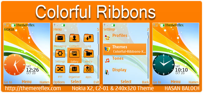 Colorful Ribbons Theme for Nokia X2-00, X2-05, C2-01 & 240×320