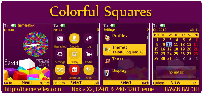 Colorful Squares Theme for Nokia X2, C2-01, 2700 & 240×320