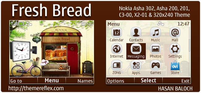 Fresh Bread Theme for Nokia C3, X2-01 & Asha 200,201,302