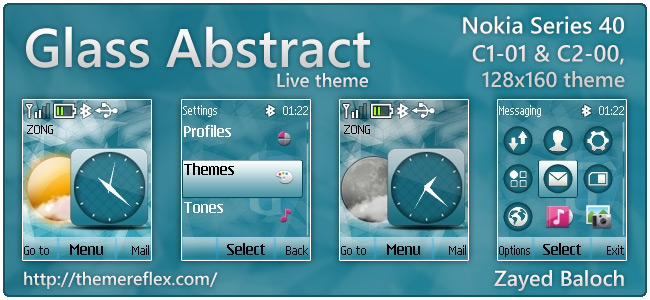 Glass Abstract live theme for Nokia C1-01, C2-00, 2690 & 128×160