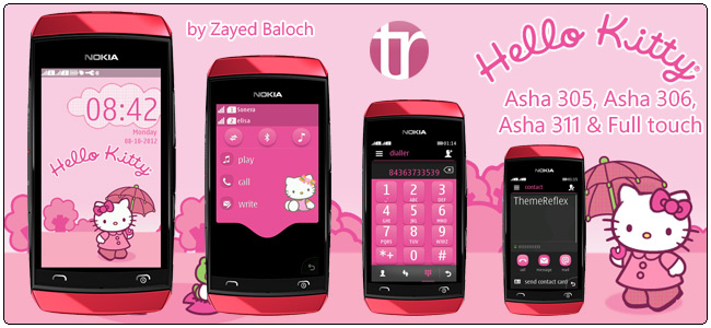 Hello Kitty theme for Nokia Asha 305, Asha 306, Asha 311 & full touch